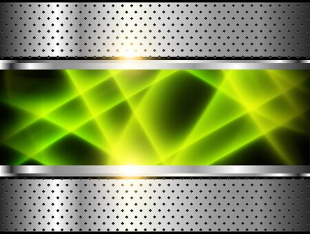 Silver metallic background, 3D with green neon lines over dotted pattern, vector illustration. Illusztráció