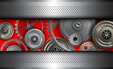Hintergrund metallisch mit Getriebe im Inneren, 3D-Technologie-Vektor-Illustration. Vektorgrafik