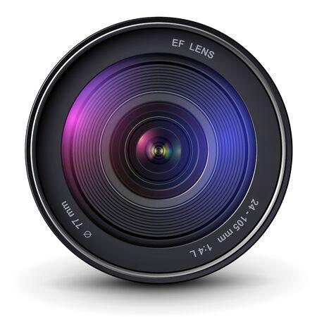 Camera photo lens, 3D vector icon.