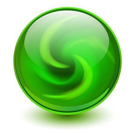 Esfera de cristal verde, bola de mármol 3D, ilustración vectorial.