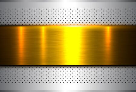 Metallic background silver gold, polished steel texture, vector design. 일러스트