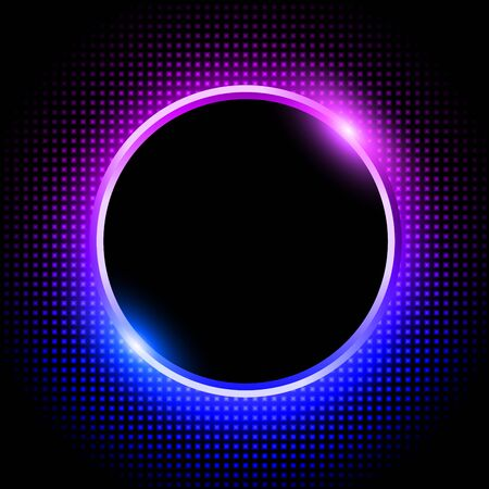 Silver sparkling ring with purple blue neon glitter on black background, vector illustration. Illusztráció