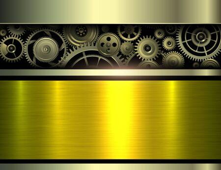 Background metallic with gear mechanism inside, 3D technology vector illustration. 일러스트