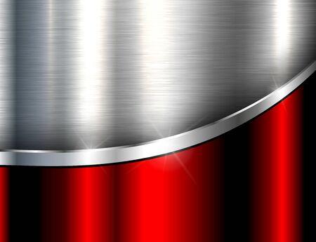 Metaliczne tło srebrny czerwony, polerowana stal tekstura, projekt wektor.