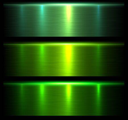 Metall Texturen grün, glänzend gebürstet metallischen Hintergrund, Vektor-Illustration.