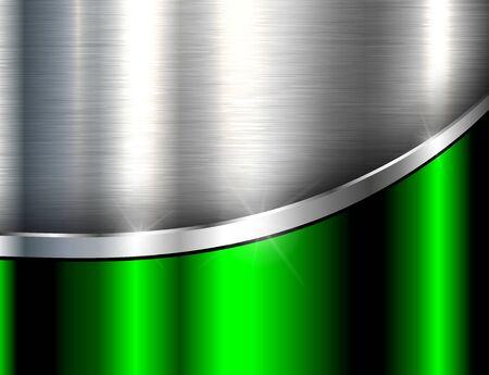 Fond métallique argenté vert, texture en acier poli, dessin vectoriel.