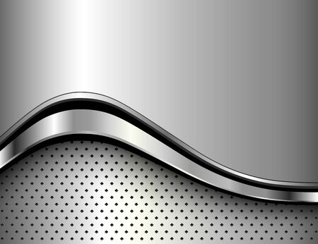 Metallic background silver polished steel texture, 3D vector design.