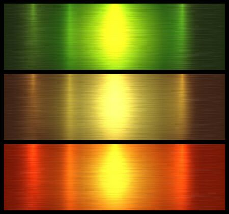 Metal textures shiny orange green brushed metallic background, vector illustration.