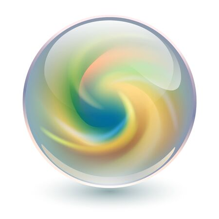 3D crystal, glass sphere with abstract spiral shape inside, interesting marble ball.