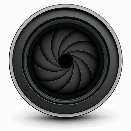 Camera photo lens with shutter inside, vector illustration.