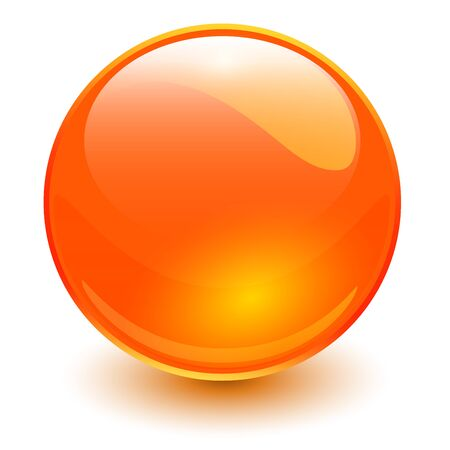 Glass sphere orange, vector shiny ball. Иллюстрация