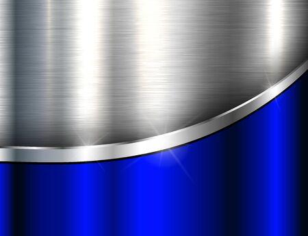 Fond métallique bleu argenté, texture en acier poli, dessin vectoriel.