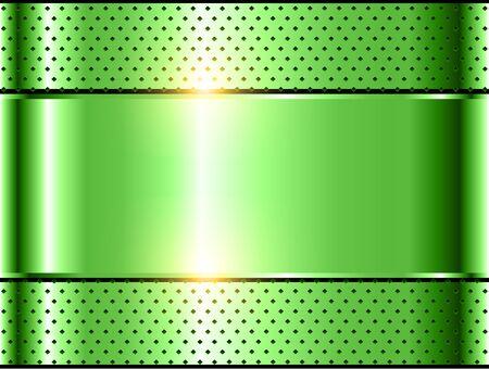 Green metallic background, polished steel texture vector design.