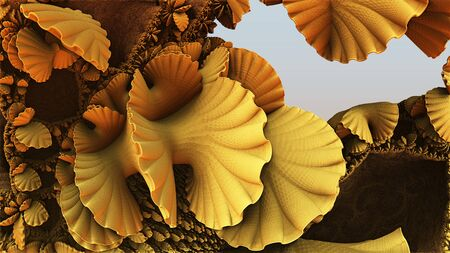 Fantastic background 3d abstract golden shapes, fictional background. Stock fotó