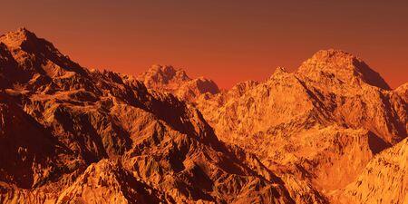 Mars landscape, 3d render of imaginary mars planet terrain, science fiction illustration.
