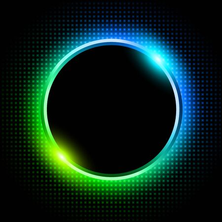 Silver sparkling ring with green blue neon glitter on black background, vector illustration. Illusztráció