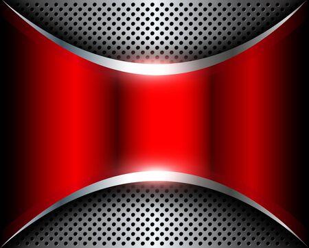 Elegant silver red background, 3D metallic vector design.