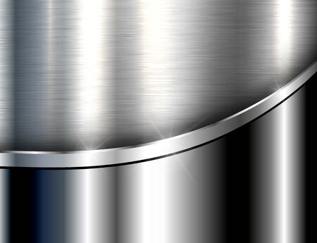 Metallic background silve, polished steel texture, vector design.