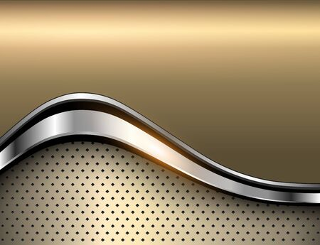 Metallic background silver polished gold texture, 3D vector design. 일러스트