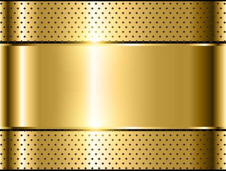 Gold metallic background, polished steel texture vector design.