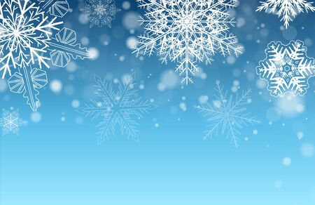 Christmas background with snowflakes, blue winter vector  illustration