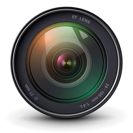 Camera fotolens, 3D-vector icoon.