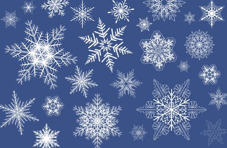 Snowflakes winter background, christmas snowflakes vector pattern.