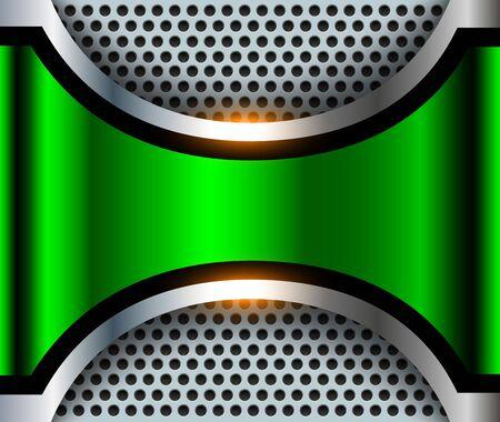 Elegante sfondo metallico 3D, verde con pannello traforato, disegno vettoriale.