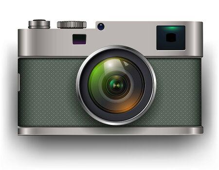 Icono 3D de cámara de fotos retro, ilustración vectorial