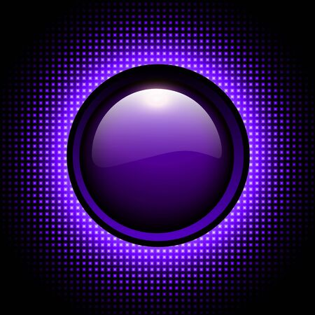 Background 3d with glowing purple neon circle and shiny button over halftone pattern, vector illustration.