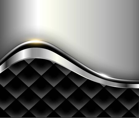 Silver black background, 3d design with square pattern.