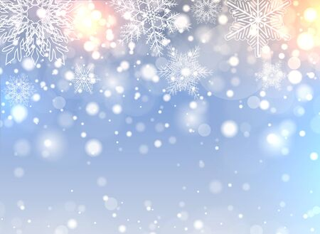 Christmas background with snowflakes and lights, winter vector illustration Illusztráció