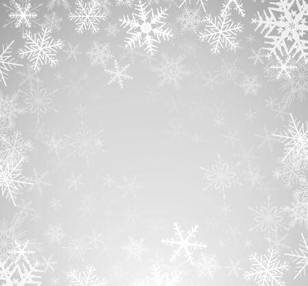 Fondo de invierno de Navidad con copos de nieve, ilustración vectorial. Ilustración de vector