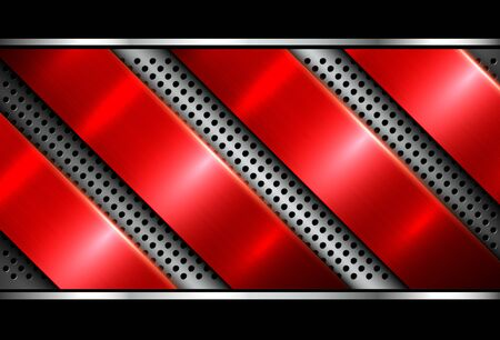 Silver red metallic background, 3D with dotted pattern, vector illustration.