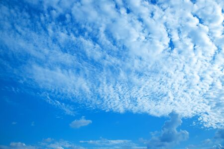 Clouds nature background, altocumulus clouds with blue sky.