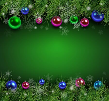 Christmas background green with fir branches and balls