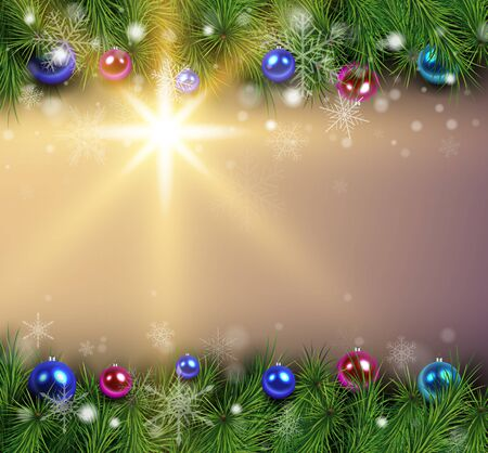 Christmas background with fir branches lights and balls.