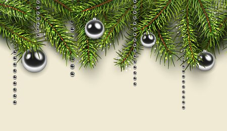 Christmas background with green fir tree, vector illustration.