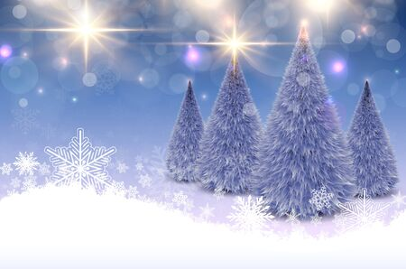 Christmas background with snowflakes and christmas trees, winter vector illustration Illusztráció