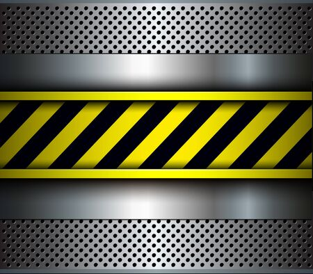 Background metallic with warning stripes, 3D vector illustration.