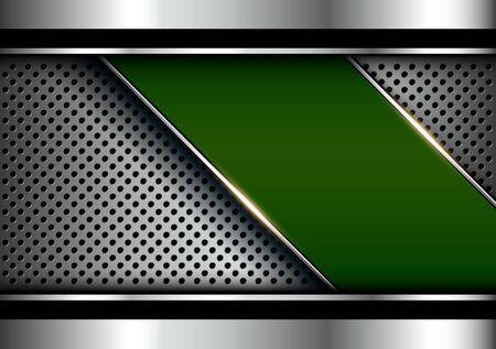 Metallic background silver green, polished steel texture over perforated background. Illusztráció