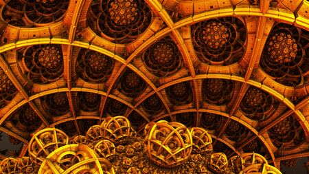 Abstract background, fantastic 3D gold structures. Stockfoto