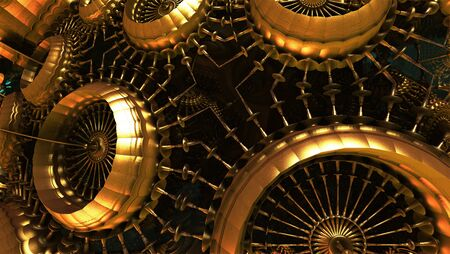 Abstract background 3D, technology gold metal shapes.