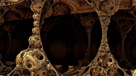Abstract background, fantastic 3D gold structures, fictional background.