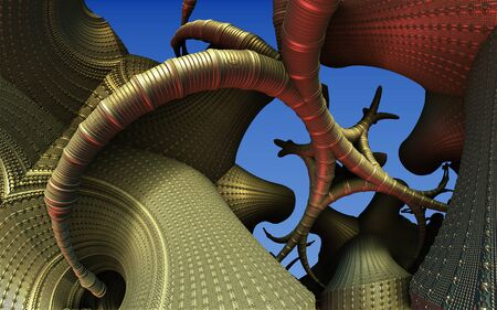 Abstract background 3D, fantastic gold structures and shapes