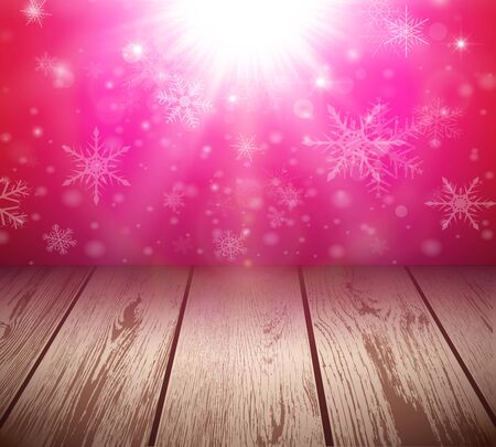 Christmas  background with 3D wooden floor and sunny, glowing lights, vector illustration.