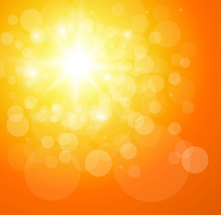 Sunny orange background, vector illustration.