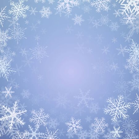Winter christmas background, frozen with snowflakes, vector illustration.