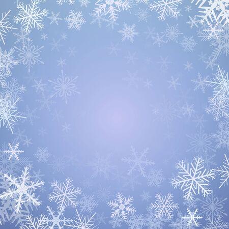 Zimowe tło Boże Narodzenie, zamrożone płatki śniegu, ilustracji wektorowych.