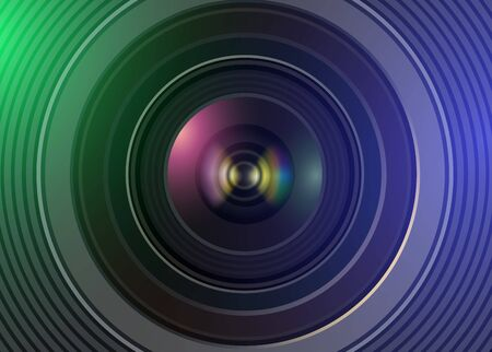 Technology background with camera photo lens, vector illustration